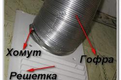 Пример присоединения гофрированной трубы к вытяжке