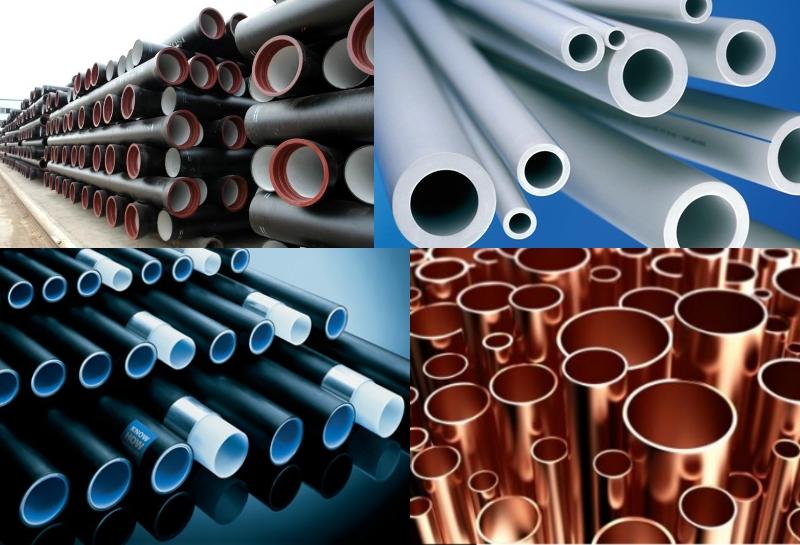 Виды труб: 1-чугунные, 2-пластиковые, 3- металопластиковые, 4- медные