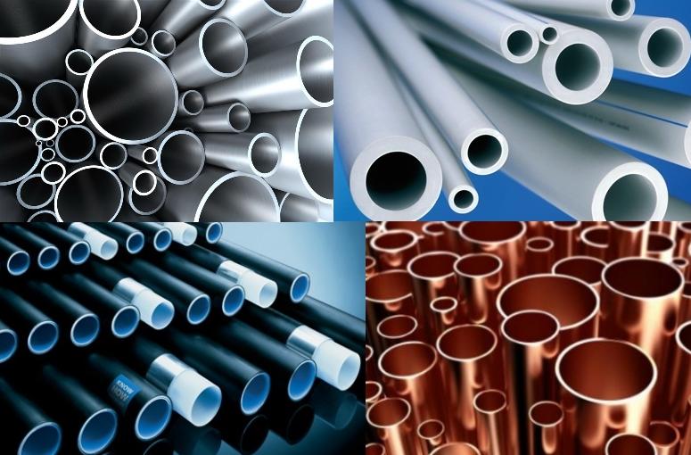 Виды труб для водопровода: 1-стальные, 2-пластиковые,3-металлопластиковые, 4-медные