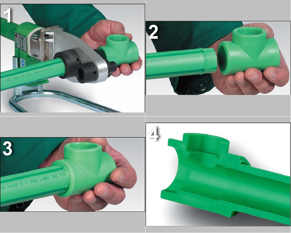 Этап сварки пластиковых труб