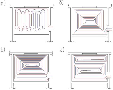 Схема укладки водяных труб