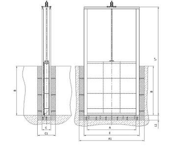 Схема щитового затвора поверхностного типа