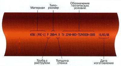 Расшифровка маркировки НПВХ трубы