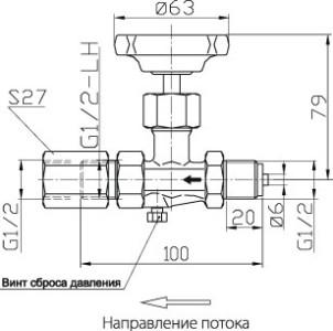 Схема игольчатого вентиля в разрезе