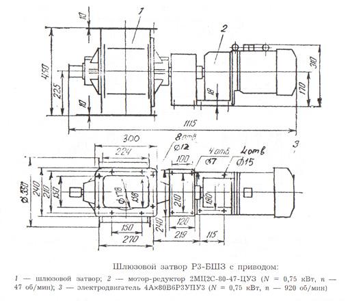 Схема-пример устройства шлюзового затвора