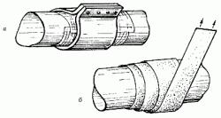 Устранение течи трубы клеевым бандажом