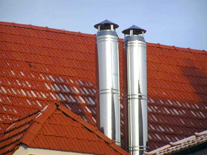 Крыша с выведенными дымоотводными трубами