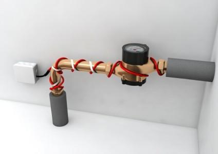 Нагревательный кабель на водопроводной трубе