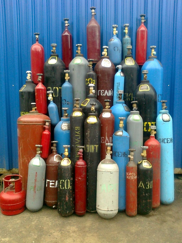 Различают разные виды баллонов в зависимости от вида газа в нем.