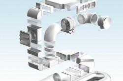 Пример крепления элементов пластикового воздуховода