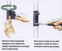 Накладывание резиновой заплатки
