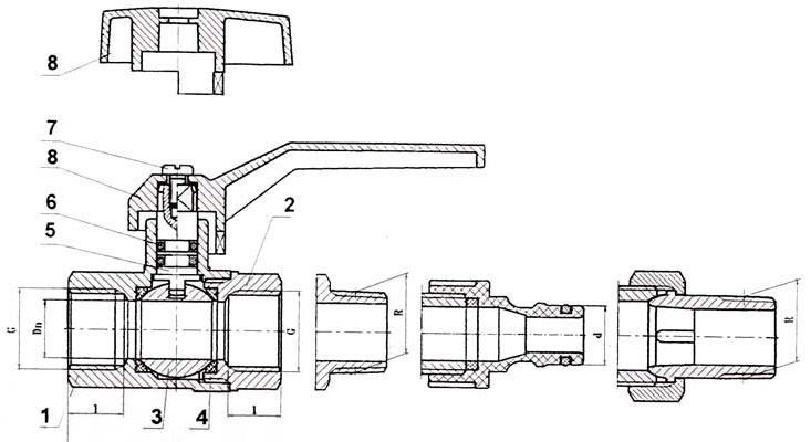 Схема шарового крана в разрезе