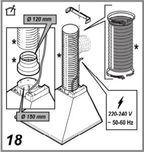 Схема монтажа гофротрубы на вытяжку