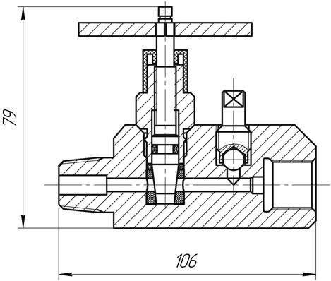 Схема прямоточного вентиля в разрезе