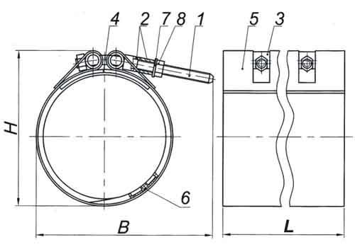 Схема стяжного хомута в разрезе