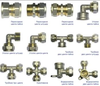 Виды соединителей для металлопластиковых труб