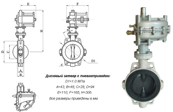 Схема дискового затвора с пневмоприводом