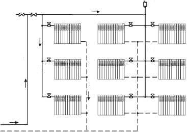 Схема вертикальной духтрубной системы отопления